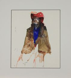 "Original Watercolor by Charles Reid, Man In A Red Hat, Unmatted 17"" X 15"""