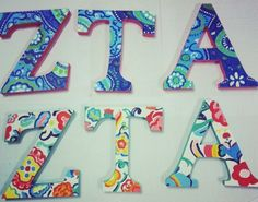 Vera Bradley inspired Hand Painted Zeta Tau Alpha sorority letters. Had fun crafting.