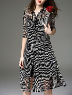 Black Printed Casual Two Piece Midi Dress