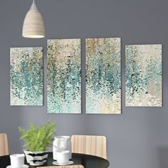 Add bold style and a splash of bright color to your walls with this brilliant four-piece art set. Sleek and sophisticated, it will liven up any ensemble in your home. It showcases an abstract motif with swirling designs, geometric accents, and a teal blue, brown, navy, and beige color palette. Try hanging these four giclee printed canvases on the wall above your living room sofa to craft a chic, modern focal point. If you want to build on the contemporary appeal, try tossing a few teal…
