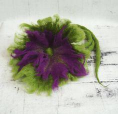 Hand felted flowers necklace-belt, felted flowers,  flower, dred, Feltmondo by Feltmondo on Etsy