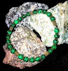 Beaded Bracelets, Vintage, Etsy, Jewelry, Fashion, Malachite, Rhinestones, Wristlets, Moda