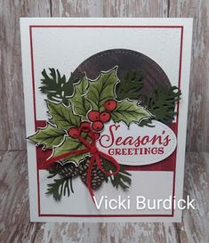 Homemade Christmas Cards, Stampin Up Christmas, Christmas Cards To Make, Christmas Settings, Xmas Cards, Homemade Cards, Holiday Cards, Poinsettia Cards, Christmas Greenery