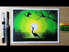 How to Draw Green light Sky Scenery with Oil Pastel step by Step Disney Canvas Paintings, Oil Pastel Paintings, Green Paintings, Oil Pastel Art, Canvas Art, Drawing Scenery, Scenery Paintings, Oil Pastel Drawings Easy, Oil Pastel Crayons