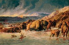 """""""Prairie Fire"""" by Charles M. Russell, 1898; C.M. Russell Museum, Great Falls, Montana."""