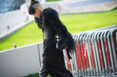 Dark Fashion, Street Style from Paris Fashion Week Spring 2014 - Paris Fashion Week Spring 2014 Street Style, Day 2 Cool Street Fashion, Dark Fashion, Urban Fashion, Dystopian Fashion, Cyberpunk Fashion, Superhero Fashion, Post Apocalyptic Fashion, Street Beat, Future Fashion