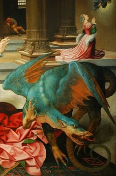 Detail from Jan Rombouts, St. Margaret of Antiochia with the Dragon, ea. 16th century. Wing of a dismembered altarpiece on the Conversion of Saint Paul and The Fall of Simon the Magus. Oil on panel. M - Museum Leuven.