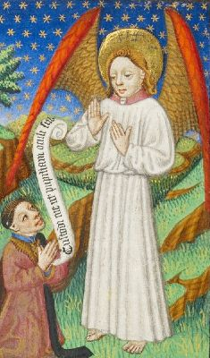 A Patron and His Guardian Angel (detail), Master of Sir John Fastolf, about 1430-40