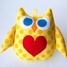 Owl Soft Toy Rattle - Bright Yellow Polka Dots. $10,00, via Etsy.