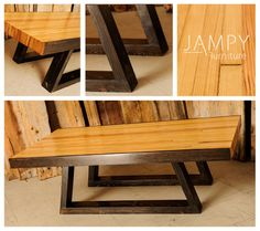 "Bowling lane coffee table with barn wood legs. This wood was designed to have round rocks dropped on it so the table is tough! 48"" L x 22"" W x 16"" H www.jampy.co - $800 SOLD & shipped to Toronto"