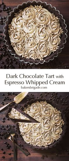 Chocolate Tart with Espresso Whipped Cream Dark Chocolate Espresso Tart- omg this coffee flavored dessert looks ah-mazing! So decadent and gorgeous!Dark Chocolate Espresso Tart- omg this coffee flavored dessert looks ah-mazing! So decadent and gorgeous! Brownie Desserts, Chocolate Desserts, Just Desserts, Delicious Desserts, Yummy Food, Chocolate Filling, Mini Chocolate Tarts, Amazing Dessert Recipes, Dark Chocolate Recipes