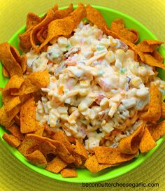Bacon, Butter, Cheese & Garlic: Bacon Corn Dip...this dip is easy to throw together.  It's great with Chili Cheese Fritos!