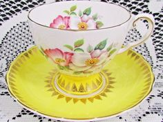 Vintage Royal Tuscan Pink & White  w/ Cherry Blossoms Footed Teacup and Yellow Saucer - English China Tea Cup Teacup