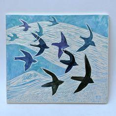 flying birds hand carved ceramic art tile by crowfootstudio