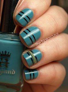 Striping Tape and Chain Nail Art