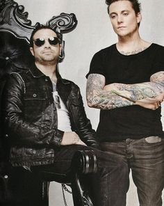 "Johnny Christ and Synyster Gates. Syn'a expressions basically says ""I am not prepared to deal with your bullshit today. Fuck off. Lol."