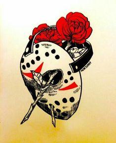 Jason voorhees - drawing pencil by extremegun on deviantart Spooky Tattoos, 13 Tattoos, Trendy Tattoos, Body Art Tattoos, Tattoo Drawings, Sleeve Tattoos, Arte Horror, Horror Art, Jason Voorhees Drawing