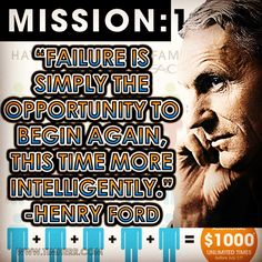 """""""Failure is simply the opportunity to begin again, this time more intelligently."""" -Henry Ford (US Industrialist 1863-1947) #quoteoftheday #HenryFord #Seacret #Mission1000"""