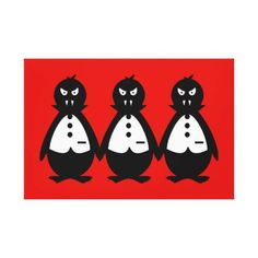 Three Vampire Penguins VZS2 Fiery Red Canvas Print - red gifts color style cyo diy personalize unique
