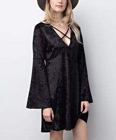 chloah Black Velvet Bell-Sleeve Empire-Waist Dress | zulily