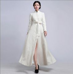 Etsy - ChineseHut  10%Off White Autumn Embroidered Organza Jacket Wedding Dress Overcoat Formal Trench Coat Bohemian Floral Long Tunic Blazer Outerwear Gown
