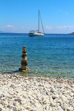 Stone sculpture on Defteri beach, Paxos Island Paxos Island, Stone Sculpture, Greek Islands, Greece, Outdoors, Beach, Places, Greek Isles, Greece Country