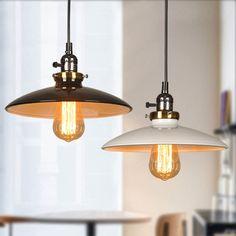 Pendant Lights Industrial Wind Vintage Hanging Lamps American Village Black And White Droplight Iron Loft Retro Lid Cord Pendant Lamp Edison