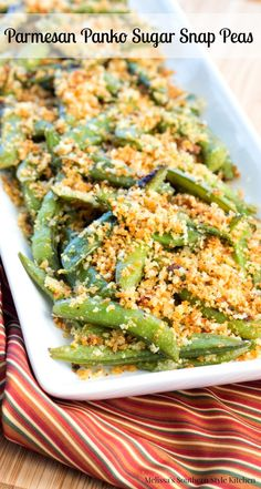 These Parmesan Panko Sugar Snap Peas will rock your side dish menu. they're sure to become a regular on your side dish rotation. Pea Recipes, Side Dish Recipes, Vegetable Recipes, Cooking Recipes, Healthy Recipes, Healthy Foods, Yummy Recipes, Meatless Recipes, Yummy Food