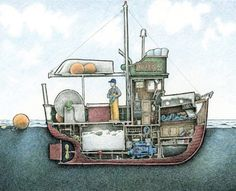 Boat Drawing, Ship Drawing, Drawing Tips, Chris Craft Boats, Boat Illustration, Model Boat Plans, Fishing For Beginners, Fishing Vessel, Below Deck