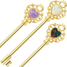 """Industrial Piercing Barbell Key Design with Heart-Shaped Opalite Superior high quality surgical steel Industrial Piercing Barbell Key Design with Heart-Shaped Opalite. Available in 3 Colors - Purple Opalite, White Opalite and Black Opalite. Beautifully crafted Victorian key design • Features heart-shaped opalite • Gold I.P. for durability and long-lasting color • Can be used in left or right ear • Shaft measures 14ga with an overall length 1.25""""(32 mm)"""