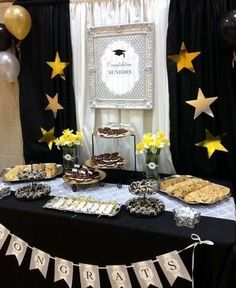 Black And Gold Graduation Table Decorations Black and gold graduation table decorations Dont let your. Love this dessert table. Black And Gold Table Decoration Ideas Gold Graduation Party Previe. Buffet Dessert, Dessert Table Backdrop, Decoration Table, College Graduation Parties, Graduation Celebration, Grad Parties, Graduation Table Decorations, Graduation Party Decor, Graduation Ideas