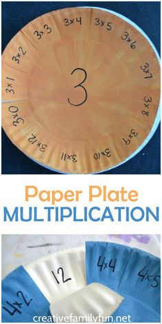 Have fun practicing your multiplication facts with this simple DIY Paper Plate Multiplication Practice Activity. They're easy to make and fun to pick up time and time again for math facts practice. Math Fact Practice, Multiplication Activities, Numeracy, Multiplication Flash Cards, Multiplication And Division, Math Help, Math Fractions, Math For Kids, Fun Math