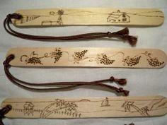 Bookmarks - Set of 3 - Wood Burned - Windmill, Grape Vine, Ocean Sunset Wood Burning Crafts, Wood Burning Patterns, Wood Burning Art, Popsicle Stick Crafts, Craft Stick Crafts, Wood Crafts, Vbs Crafts, Popsicle Sticks, Woodworking For Kids