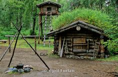 Fur trappers cabin with food cache