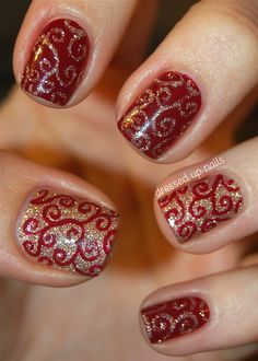 Red and Gold Glitter Swirls Nails