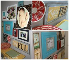 52 Mantels: Gallery Wall Details {from my Hallway Makeover! Diy Wall Art, Wall Art Decor, Baby Collage, Red And Teal, Teal Yellow, Hanging Photos, Photo Hanging, Picture Arrangements, Craft Corner