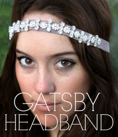 Gatsby Headband | Beautiful diamond chain with flower like elements wrapping from ear to ear for both casual and formal attire. Inspired by the Great Gatsby. One size fits all, Handmade in the USA.  Colors Available:Coral, Dusty Rose, Sea foam, or Mushroom. | Tres Belle Boutique - Lake Geneva, WV