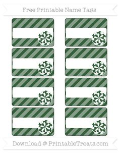 Free Hunter Green Diagonal Striped  Cheer Pom Pom Name Tags