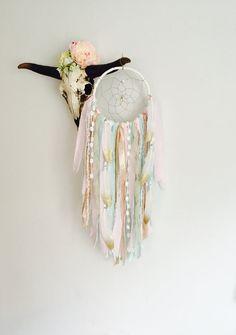 Pink and Gold Dream Catcher, Dreamcatcher, Wall Hanging Dreamcatcher, Bohemian, Girl Nursery Decor, Tapestry, Boho Decor