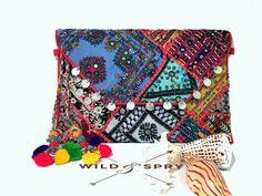 Bohemian Banjara Ethnic Handbag, Afghan Clutch, Hand embroidery,Vintage Clutch, Gypsy Bag, Tribal, Vintage Banjara Clutch Bag - Blue