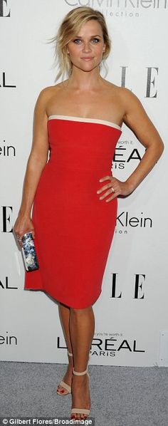 All smiles: Honoree Reese Witherspoon was all smiles for photographers and looked lovely in a strapless red cocktail dress