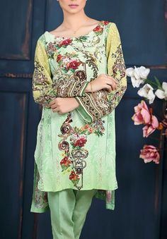 Light Green Embroidered Grip Dress (2pc) Contact: (702) 751-3523  Email: info@pakrobe.com  Skype: PakRobe