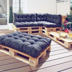 Seat cushions for Euro pallets anthracite) - Danish bed storage - Sitzkissen Palette - Decor Pallet Garden Furniture, Balcony Furniture, Home Furniture, Furniture Ideas, Lawn Furniture, Sofa Ideas, Furniture Makeover, Palette Furniture, Furniture Stores