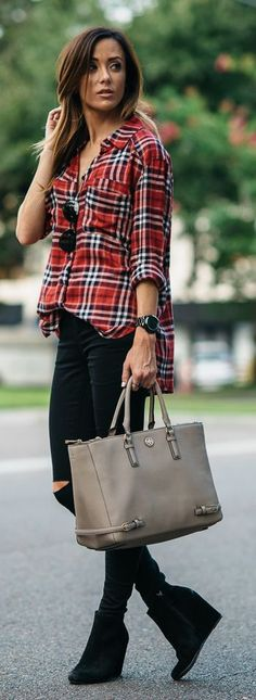 Plaid Button Up Wedge Booties Outfit Idea by Sequins & Things