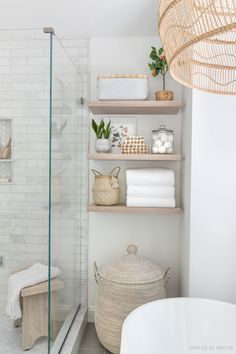 The floating wood shelves in our master bathroom! Modern Bathroom Decor, Simple Bathroom, Bathroom Interior, Gold Bathroom, Bathroom Designs, Small Master Bathroom Ideas, Small Bathroom Inspiration, Bathroom Inspo, Bathroom Sets