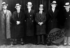 Mobsters (Left to right): Paul Ricca, Salvatore Agoglia, Lucky Luciano, Meyer Lansky, John Senna, Harry Brown in 1932.