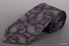 KITON Napoli Hand-Made Seven Fold Black Paisley Silk Tie NEW