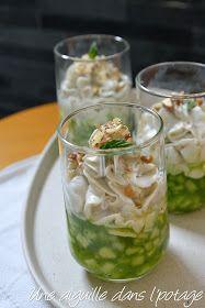 Verrine de concombre à la crème de chèvre aux noix