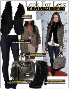 Look For Less: Olivia Palermo - Celebrity Style Guide Celebrity Fashion Looks, Celebrity Style Guide, Celebrity Look, Cold Weather Outfits, Winter Outfits, Black Fur Vest, Combat Jacket, Christian Louboutin Women, Funky Outfits