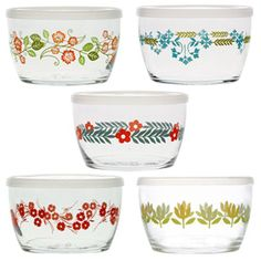 Vintage Flower Storage Bowls Gift Set of 5